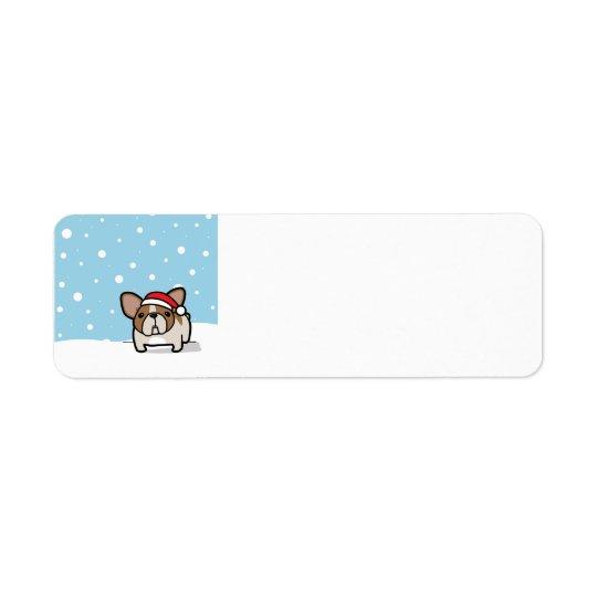 Snowy-Kitz geschecktes Frenchie Kleiner Adressaufkleber