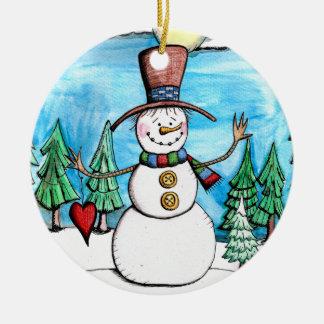 Snowy-TagesSchneemann-Weihnachtsverzierung Keramik Ornament
