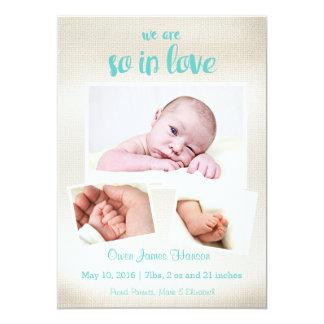 So in der Liebe-Baby-Jungen-Geburts-Mitteilung 12,7 X 17,8 Cm Einladungskarte