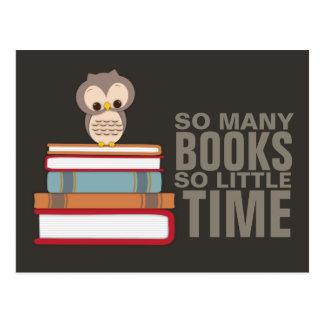 So viele Bücher so wenig Zeit-niedlicher Eulen-Buc Postkarte
