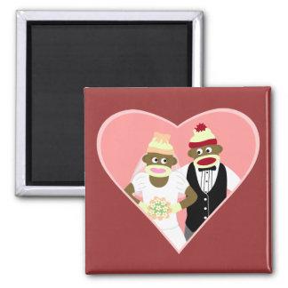 Socken-Affe-Hochzeit Quadratischer Magnet