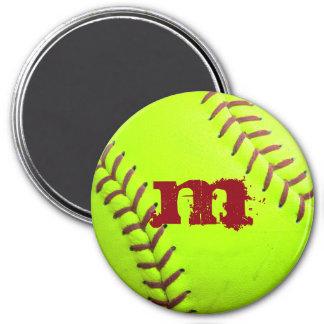 Softball-gelber schneller runder magnet 7,6 cm