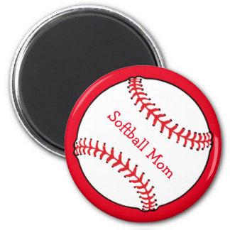 Softball-Mamma-Magnet Runder Magnet 5,7 Cm
