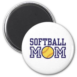 Softball-Mamma Runder Magnet 5,1 Cm