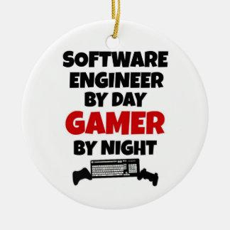 Software Engineer durch TagesGamer bis zum Nacht Rundes Keramik Ornament