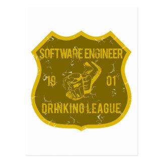 Software Engineer trinkende Liga Postkarte
