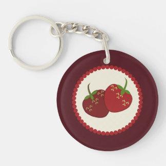 Sommer-Erdbeersahnetorten-Kunst Einseitiger Runder Acryl Schlüsselanhänger