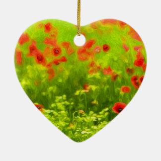 Sommer-Gefühle - wunderbare Mohnblumen-Blumen I Keramik Herz-Ornament