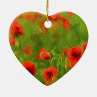 Sommer-Gefühle - wunderbare Mohnblumen-Blumen II Keramik Herz-Ornament