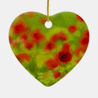 Sommer-Gefühle - wunderbare Mohnblumen-Blumen III Keramik Herz-Ornament