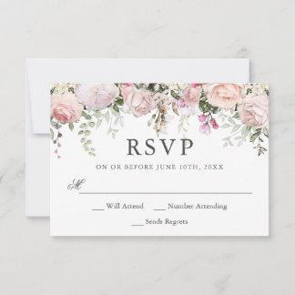 Summer Rose Garden Floral Wedding RSVP