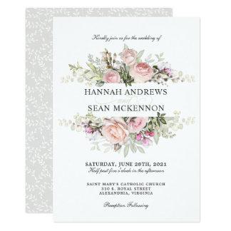 Summer Rose Garden Floral Wedding Invitation