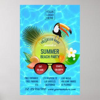Sommer-Verein/Unternehmensstrand-Partyanzeige Poster