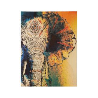 Sonnenaufgang-Elefant-Plakat-Druck Holzposter