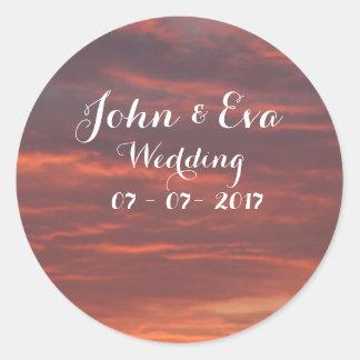Sonnenaufgang-Foto-Hochzeits-Aufkleber Runder Aufkleber