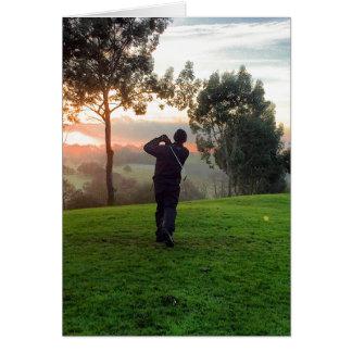 Sonnenaufgang-Golfspieler Karte