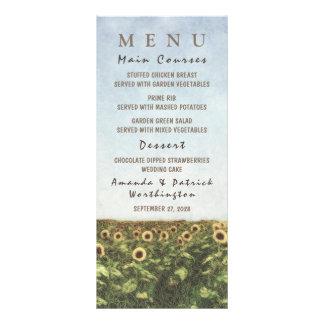 Sonnenblume-Aquarell-Land-Hochzeits-Menü-Karten Werbekarte