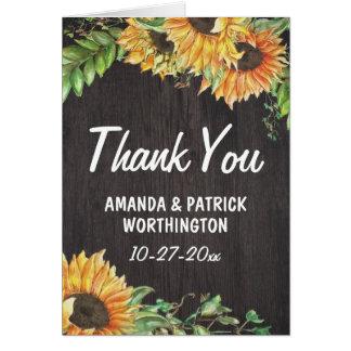 Sonnenblume-Aquarell-rustikale Hochzeit danken Karte