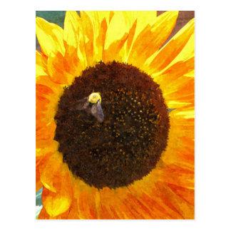 Sonnenblume-Biene Postkarte
