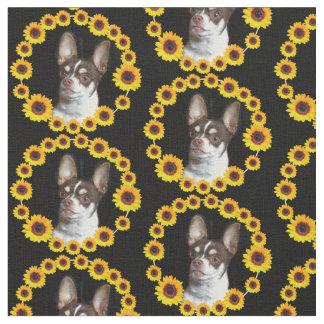 Sonnenblume-Chihuahuahundgewohnheits-Gewebe Stoff