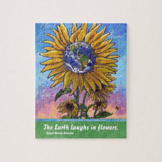 Sonnenblume-Erdkunst Puzzle