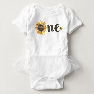 Sonnenblume-erste Geburtstags-Ausstattung Baby Strampler