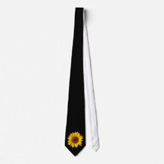 Sonnenblume-Gelb auf Schwarzem - kundengebundene Krawatte