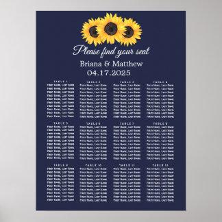Sonnenblume-Hochzeits-Sitzplatz-Diagramm-Land-Blau Poster