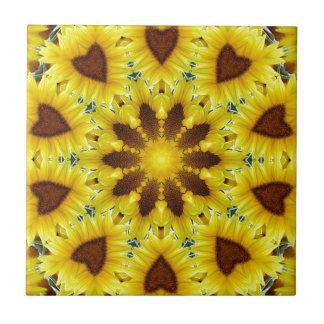 Sonnenblume-Kaleidoskop Fliese