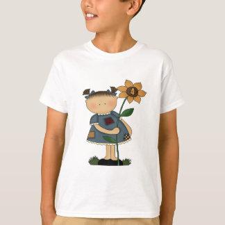 Sonnenblume-Mädchen-4. Geburtstags-Geschenke T-Shirt