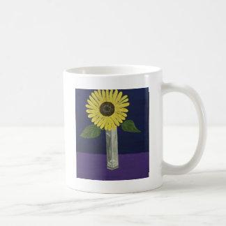 Sonnenblume mit quadratischem Vasen-Stillleben Tasse