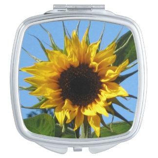Sonnenblume - quadratischer kompakter Spiegel Schminkspiegel