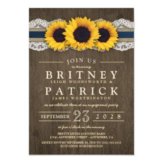 Sonnenblume-rustikale blaue Verlobungs-Party 12,7 X 17,8 Cm Einladungskarte