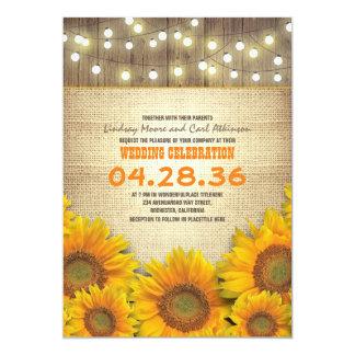 Sonnenblume-rustikale Hochzeits-Einladungen 12,7 X 17,8 Cm Einladungskarte