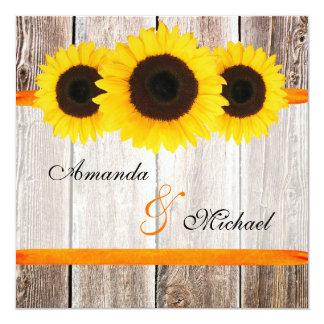 Sonnenblume-Scheunen-hölzerne orange Band-Hochzeit Quadratische 13,3 Cm Einladungskarte