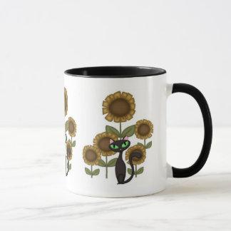 Sonnenblume-schwarze Katze Tasse