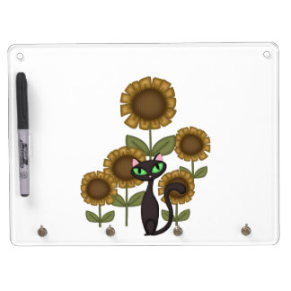 Sonnenblume-schwarze Katze Trockenlöschtafel Mit Schlüsselanhängern
