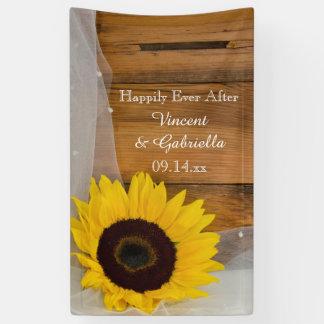 Sonnenblume und Brautschleier-Land-Hochzeit Banner