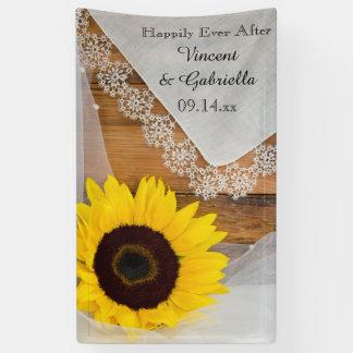 Sonnenblume und Spitze-Land-Hochzeit Banner