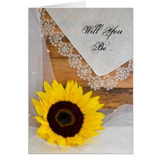 Sonnenblume und Spitze sind Sie meine Brautjungfer Grußkarte