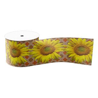 Sonnenblumen auf Brown-Muster-Handwerks-Band Ripsband