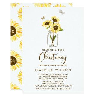 Sonnenblumen auf Weckglas-Sommer-Taufe 12,7 X 17,8 Cm Einladungskarte