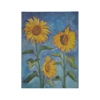Sonnenblumen Holzposter