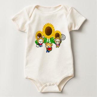 Sonnenblumen - Kaninchen, Bär, Schwein Strampelanzug