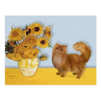 Sonnenblumen - rote Persisan Katze Postkarte