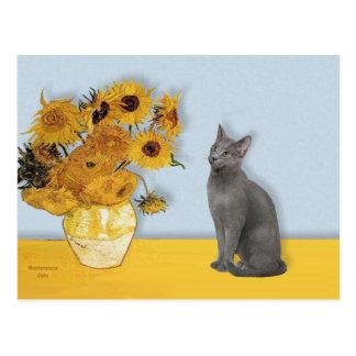 Sonnenblumen - russische blaue Katze Postkarte