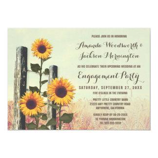 Sonnenblumen schnitzten Verlobungs-Party Karte