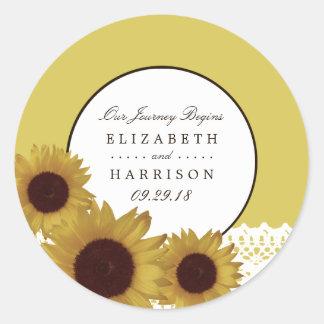 Sonnenblumen und Vintage Spitze-Hochzeit Runder Aufkleber