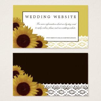 Sonnenblumen und Vintage Spitze-Hochzeits-Website Visitenkarte