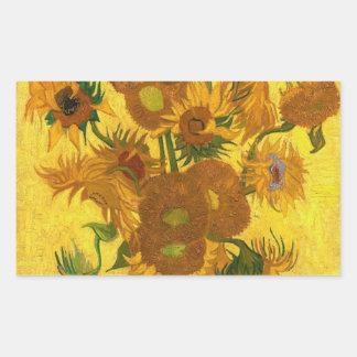 Sonnenblumen Van Gogh fünfzehn in einer Rechteckiger Aufkleber